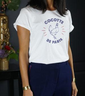 t-shirt à message cocotte de paris en bleu blanc et rouge